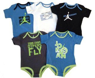 "Nike Jordan Infant New Born Baby Lap Shoulder Bodysuit 5 PCS with Different Color and ""Jordan"" Sign Pattern (0 3, 3 6, 6 9, 9 12 Months) NEW (0 3 MONTHS)  Infant And Toddler Apparel  Baby"