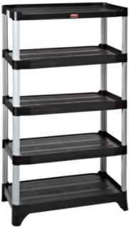 Rubbermaid Commercial FG9T3900BLA 5 Shelf Unit Shelving, 800 Pound Capacity, Black Science Lab Storage Racks