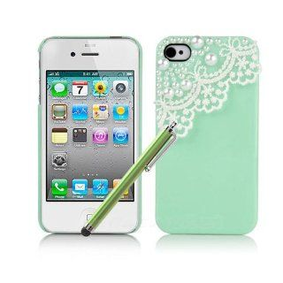 Hard Plastic Snap on Cover Fits Apple iPhone 4 4S Cute Mint Green Pearl Lace Deco + Stylus AT&T, Verizon (does NOT fit Apple iPhone or iPhone 3G/3GS or iPhone 5/5S/5C) Cell Phones & Accessories