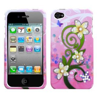 Fits Apple iPhone 4 4S Hard Plastic Snap on Cover Tropical Flowers with Diamonds AT&T, Verizon Plus A Free LCD Screen Protector (does NOT fit Apple iPhone or iPhone 3G/3GS or iPhone 5) Cell Phones & Accessories