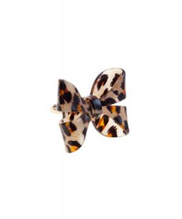 Brown Leopard Print Bow Perspex Ring