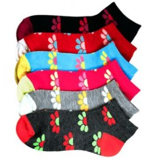 Luxury Divas Lovely Daisy Print Multi Color Ladies 6 Pack Assorted Ankle Socks