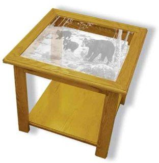 "Oak Glass Top End Table With Black Bear Etched Glass   Black Bear End Table Furniture   Unique Black Bear Gift Ideas   Fully Assembled   22"" x 22"" x 20"" high"