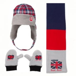 "Tuc Tuc ""British"" Boy's Fleece Mittens, Hat & Scarf. Multicolor. Size 52 (4T 6) Clothing"