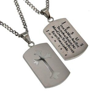 "Christian Mens Silver Stainless Steel Abstinence ""Jesus   I Am the Way and the Truth and the Life; No Man Comes to the Father Except Through Me   John 146"" Chastity Necklace for Boys on a 20"" Curb Chain   Guys Purity Necklace Jewelry"