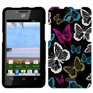 Huawei Ascend Plus Vivaciuos Butterflies on Black Phone Case Cover Cell Phones & Accessories