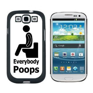 Everybody Poops   Person on Toilet   Snap On Hard Protective Case for Samsung Galaxy S3   Black Cell Phones & Accessories