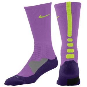 Nike Hyper Elite Basketball Crew Socks   Mens   Basketball   Accessories   Atomic Purple/Court Purple/Volt