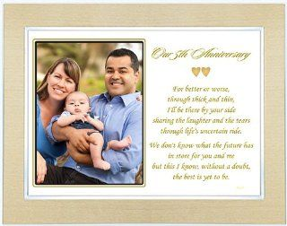 Our Fifth Anniversary   Love Poem for a 5th Wedding Anniversary   Poem in 5x7 Inch Gold Metallic Frame   Decorative Plaques