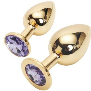 YIGO 2PCS Large + SMALL Super quality DELUXE GOLD PLATED Steel Fetish Plug Anal Butt Jewelry for Fetish Kinky Sex Love Games Good Valentine 's / Birthday Gift  LIGHT PURPLE Health & Personal Care