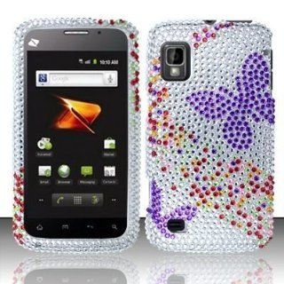 ZTE Warp N860 (Boost) Full Diamond Design Case Cover Protector   Purple Butterfly FPD (free ESD Shield Bag) Cell Phones & Accessories
