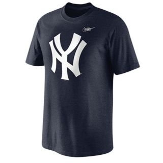 Nike MLB Coop Old School Logo T Shirt   Mens   Baseball   Clothing   New York Yankees   Navy Heather