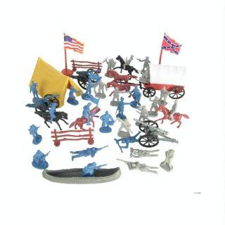 Civil War Soldier 102 Piece Playset Bucket of 54mm Plastic Army Men and Accessories 132 Scale Toys & Games