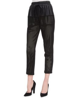 Womens Gabby Perforated Leather Pants   Parker   Black (LARGE)