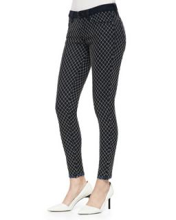 Womens Florence Diamond Check Skinny Jeans, Whitened Reverse   D ID Denim
