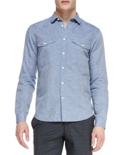 Mens Linen Cotton Long Sleeve Shirt   Theory   Lt.blue (LARGE)