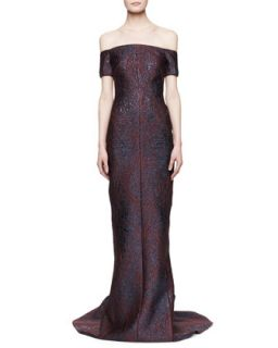 Womens Off the Shoulder Fitted Gown   J. Mendel   Vin/Marine (10)