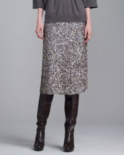 Womens Hand Sequined Skirt, Gray   St. John Collection   Oatmeal/Grey mela (4)