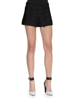 Womens Floral Lace Relaxed Shorts   Alice + Olivia   Black (2)