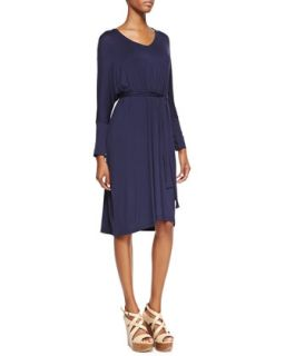 Long Sleeve Jersey Dress, Womens   Melissa Masse   Navy (2X (18/20W))
