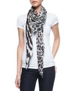 Animal Print Soft Knit Square Scarf   Roberto Cavalli   Animal print (ONE SIZE)