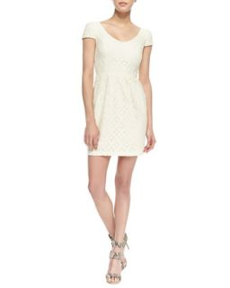 Womens Cap Sleeve Floral Lace Dress, Ivory   Amanda Uprichard   Ivory (SMALL)