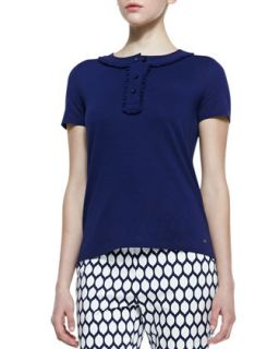 Womens sibley short sleeve ribbon collar top, navy   kate spade new york