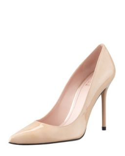Nouveau Patent Point Toe Pump, Adobe   Stuart Weitzman   Adobe (38.0B/8.0B)