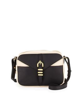 Hayden Colorblocked Leather Crossbody Bag, Black/Nude   Linea Pelle