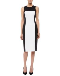 Womens Sleeveless Colorblock Sheath Dress   Michael Kors   Black/White (6)