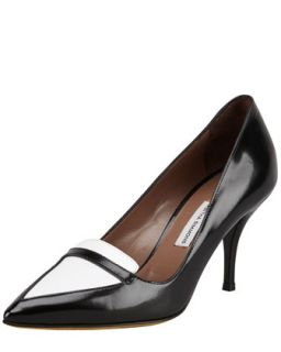 Hayden Bicolor Point Toe Loafer Pump   Tabitha Simmons   Black/White (37.5B/7.