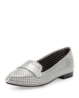 Perforated Metallic Leather Loafer, Pewter   Donald J Pliner   Pewter (39.5B/9.