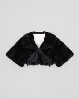 Faux Fur Short Opera Coat, Black, 2T 3T   Helena