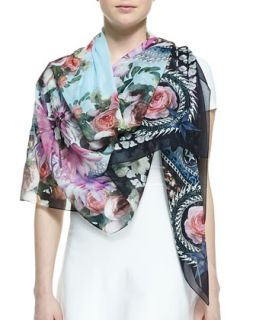 Paradise Flower Scarf, Light Blue/Multi   Givenchy   Light blue