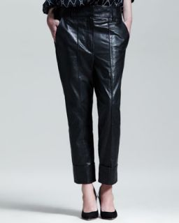 Womens Slouchy Cuffed Leather Pants   Haider Ackermann   Black (42/10)