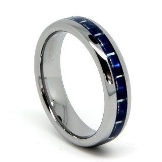 Top Value Jewelry   Women's Tungsten Wedding Band, Hers Blue Carbon Fiber Ring, High Polish Domed Rings, Women 5MM (size 5 8)   Half Sizes Available (size 5.5 7.5) Wedding Ring Sets Jewelry