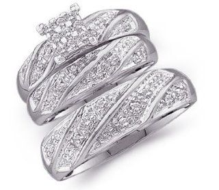 10k White Gold Mens and Ladies Couple His & Hers Trio 3 Three Ring Bridal Matching Engagement Wedding Ring Band Set   Round Diamonds   Princess Shape Center Setting (1/4 cttw) Jewelry
