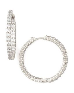 30mm White Gold Diamond Hoop Earrings, 2.84ct   Roberto Coin   White (30mm ,4ct