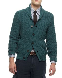 Mens Buttoned Shawl Collar Cardigan, Green   Brunello Cucinelli   Green (50)