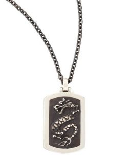 Naga Mens Silver Dragon Dog Tag Necklace   John Hardy   Silver (ONE SIZE)
