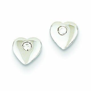 14K White Gold CZ Heart Post Earrings Jewelry