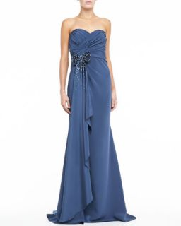 Womens Strapless Sweetheart Trumpet Gown with Bow   Badgley Mischka   Blue