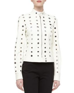 Womens Grommet Detailed Leather Moto Jacket, Optic White   Michael Kors