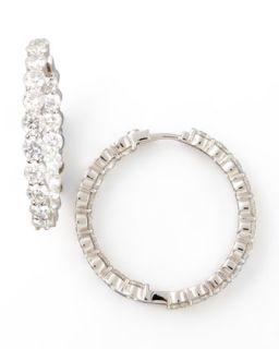 35mm White Gold Diamond Hoop Earrings, 7.21ct   Roberto Coin   White (1ct ,21ct