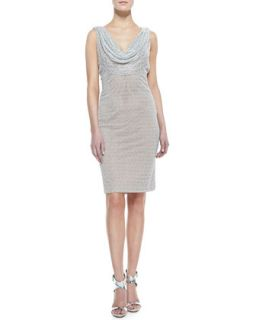 Womens Sleeveless Cowl & Beaded Neck Cocktail Dress, Silver   Carmen Marc