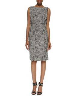 Womens Viola Sleeveless Printed Sheath Dress   Lafayette 148 New York   Black