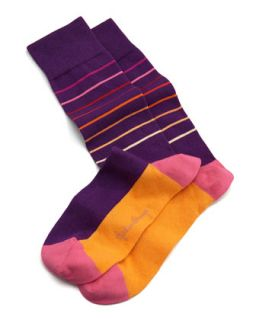 Thin Striped Mens Socks, Purple/Orange   Arthur George by Robert Kardashian