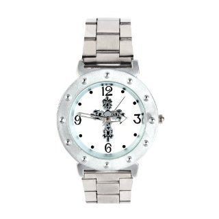 Yesurprise Fashion Punk Silver Cross Stainless Steel Band Dial Crystal Lady Women Men Watch at  Men's Watch store.