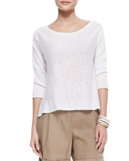 Lightweight Linen Pullover Top, White, Womens   Eileen Fisher   White (3X