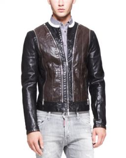 Mens Two Tone Leather Moto Jacket, Black/Brown   Dsquared2   Black/Brown (50)